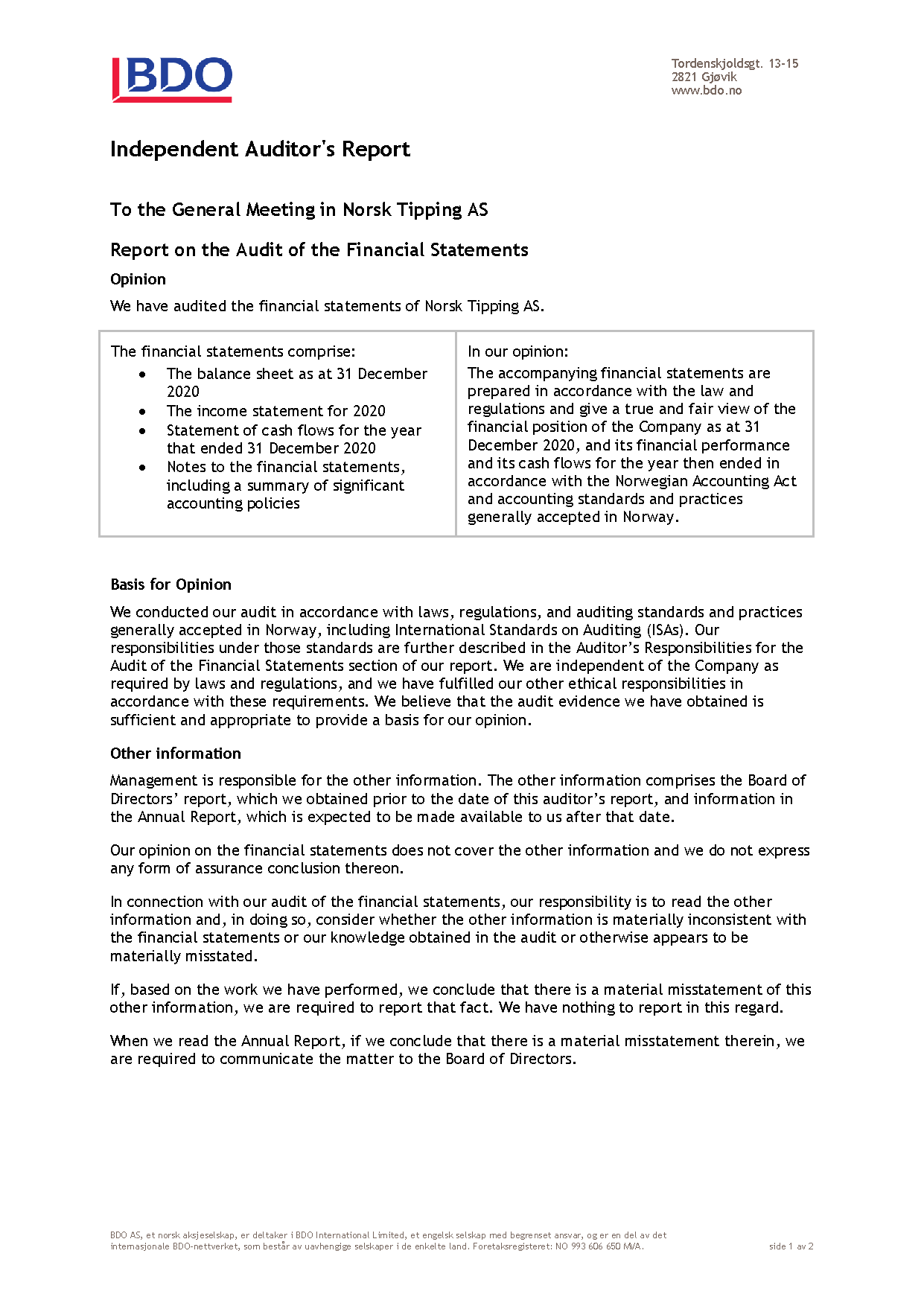 Independent Auditors Report, Norsk Tipping AS (revisjonsberetning)_Page_1